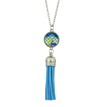 Mermaid Scales Tassel Pendant Necklace - BLUE