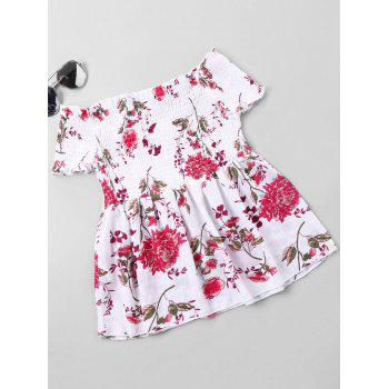 Floral Printed Off The Shoulder Blouse - WHITE L