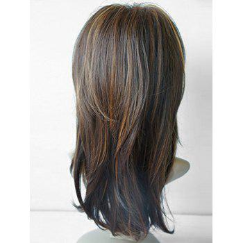 Long Inclined Bang Highlight Natural Straight Synthetic Wig - COLORMIX
