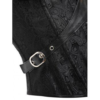 Steampunk Steel Boned Brocade Corset - BLACK 2XL