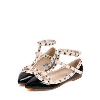 Studded Three Straps Flats - BLACK WHITE 40