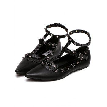 Studded Three Straps Flats - FULL BLACK 39