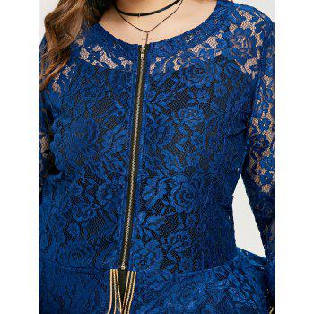 Plus Size See Thru Lace Peplum Jacket - BLUE XL