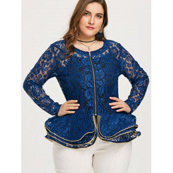 Plus Size See Thru Lace Peplum Jacket - BLUE 4XL