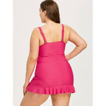 Plus Size Flounce Ruched Tankini Set - ROSE RED 2XL