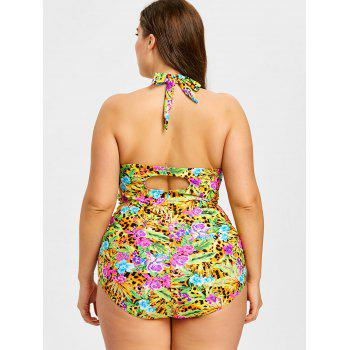 Plus Size Halter Ruched Swimsuit - YELLOW 3XL