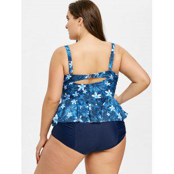 Plus Size Floral Bowknot Embellished Tankini Set - BLUE 3XL