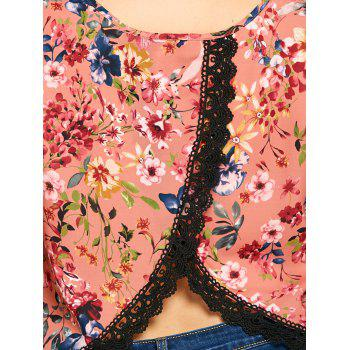 Plus Size Floral V Neck Overlap Tank Top - BRICK RED 2XL
