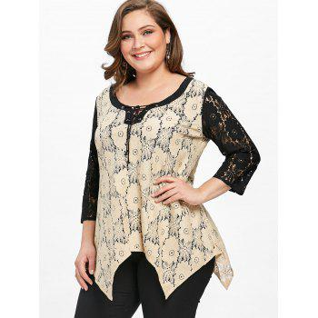 Plus Size Semi-sheer Floral Two Tone Lace Blouse - APRICOT XL