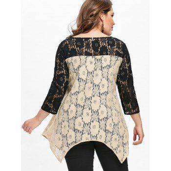 Plus Size Semi-sheer Floral Two Tone Lace Blouse - APRICOT 2XL