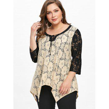 Plus Size Semi-sheer Floral Two Tone Lace Blouse - APRICOT 3XL
