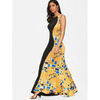 Printed Maxi Prom Fishtail Dress - COLORMIX M