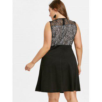 Plus Size Fit and Flare Evening Dress - BLACK 2XL