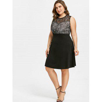 Plus Size Fit and Flare Evening Dress - BLACK 3XL