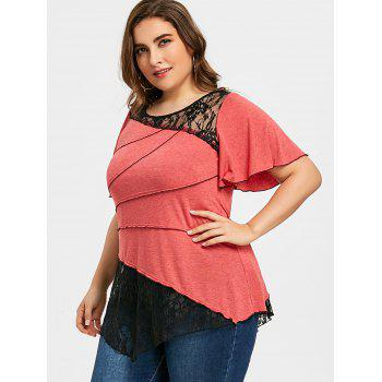Plus Size Lace Insert Tiered Asymmetric T-shirt - RED 3XL