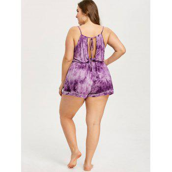 Plus Size Tie Dye Slip Romper - PURPLE XL