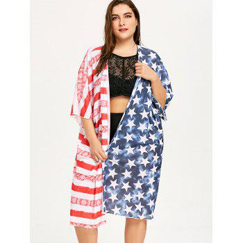 Plus Size Bell Sleeve Patriotic Cover Up - COLORMIX 3XL