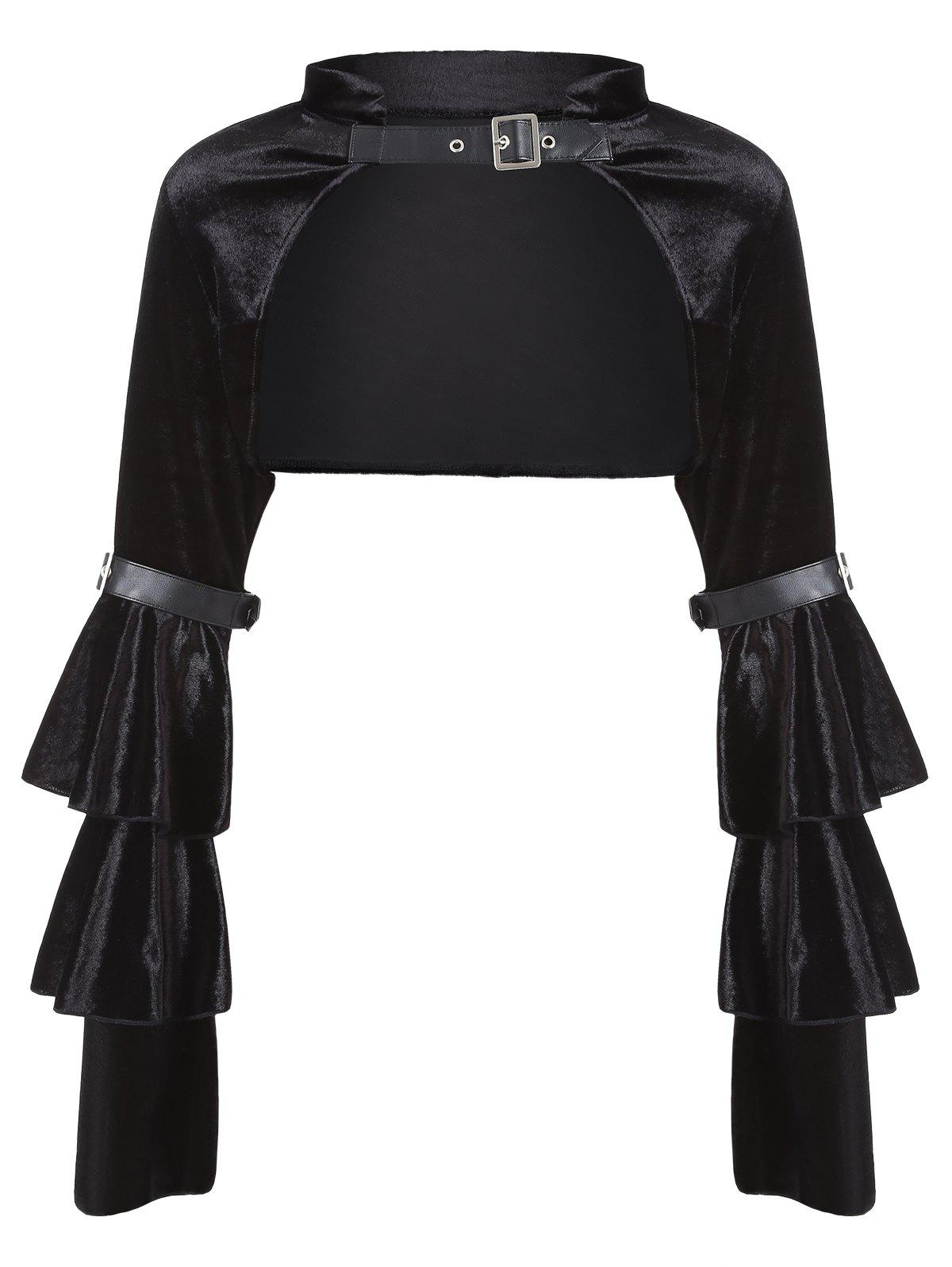 Velvet Flare Sleeve Backless Costume Top - BLACK M