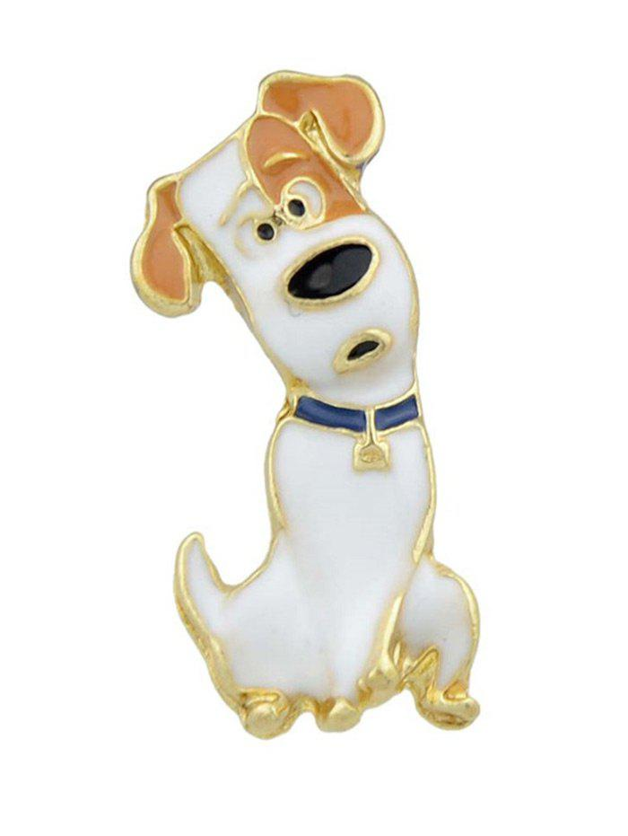 Alloy Curious Pet Lovers Dog Pattern Brooch - WHITE