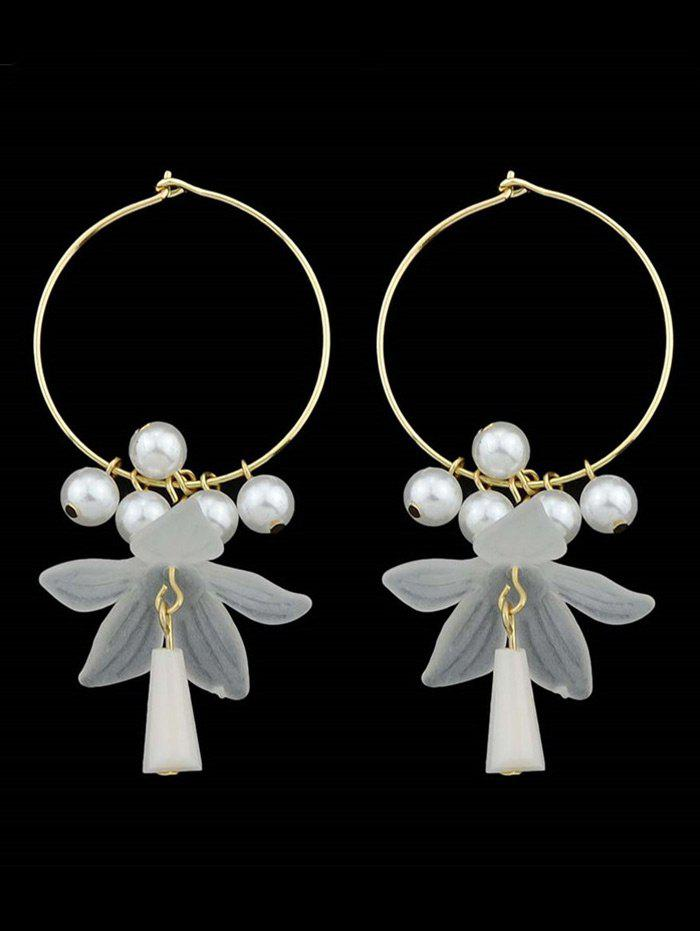 Sweet Artificial Pearl Fringed Floral Pendant Hoop Earrings - WHITE