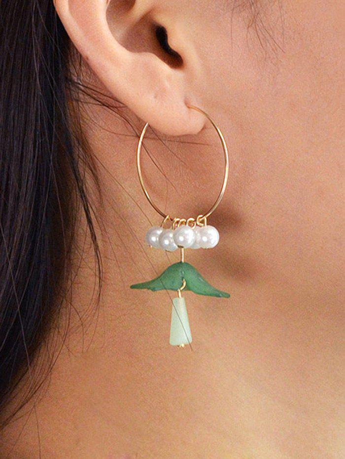 Sweet Artificial Pearl Fringed Floral Pendant Hoop Earrings - GREEN