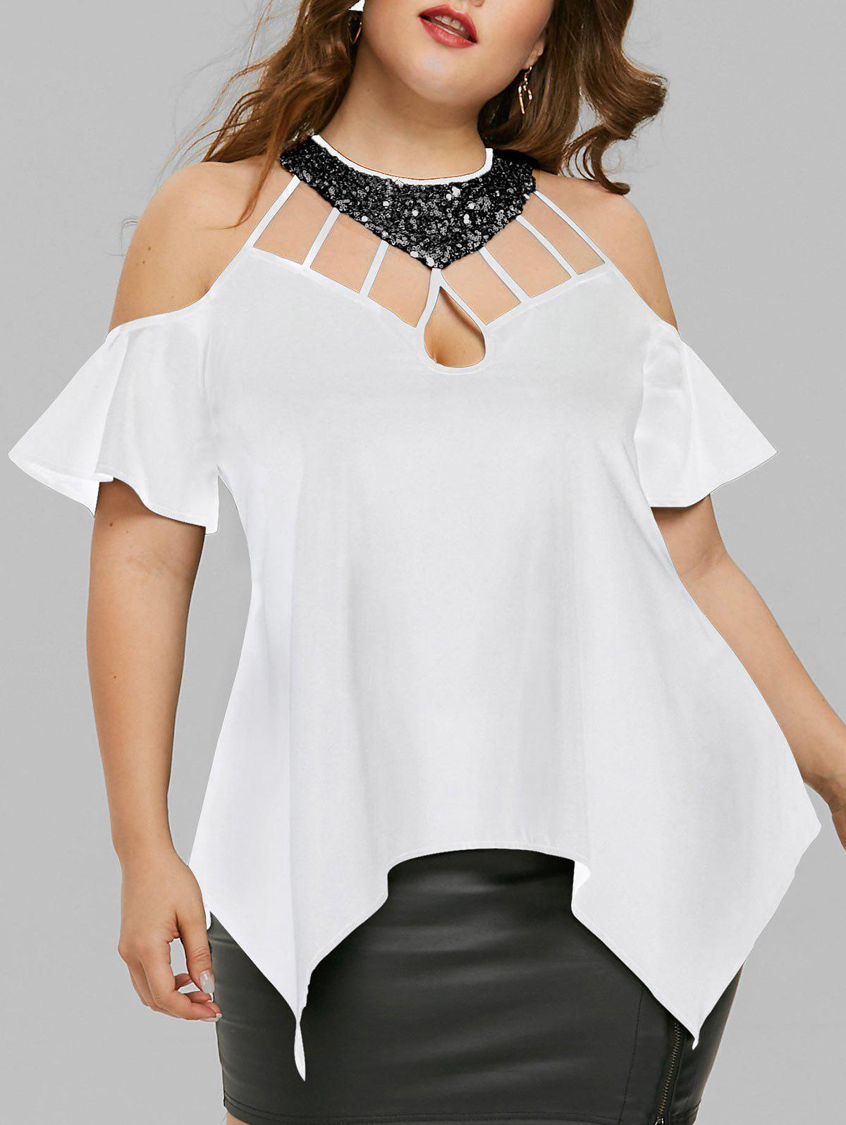 Plus Size Cold Shoulder Sequined Blouse - WHITE 5XL