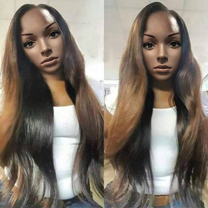 Long Side Parting Colormix Wavy Capless Synthetic Wig - BLACK/BROWN
