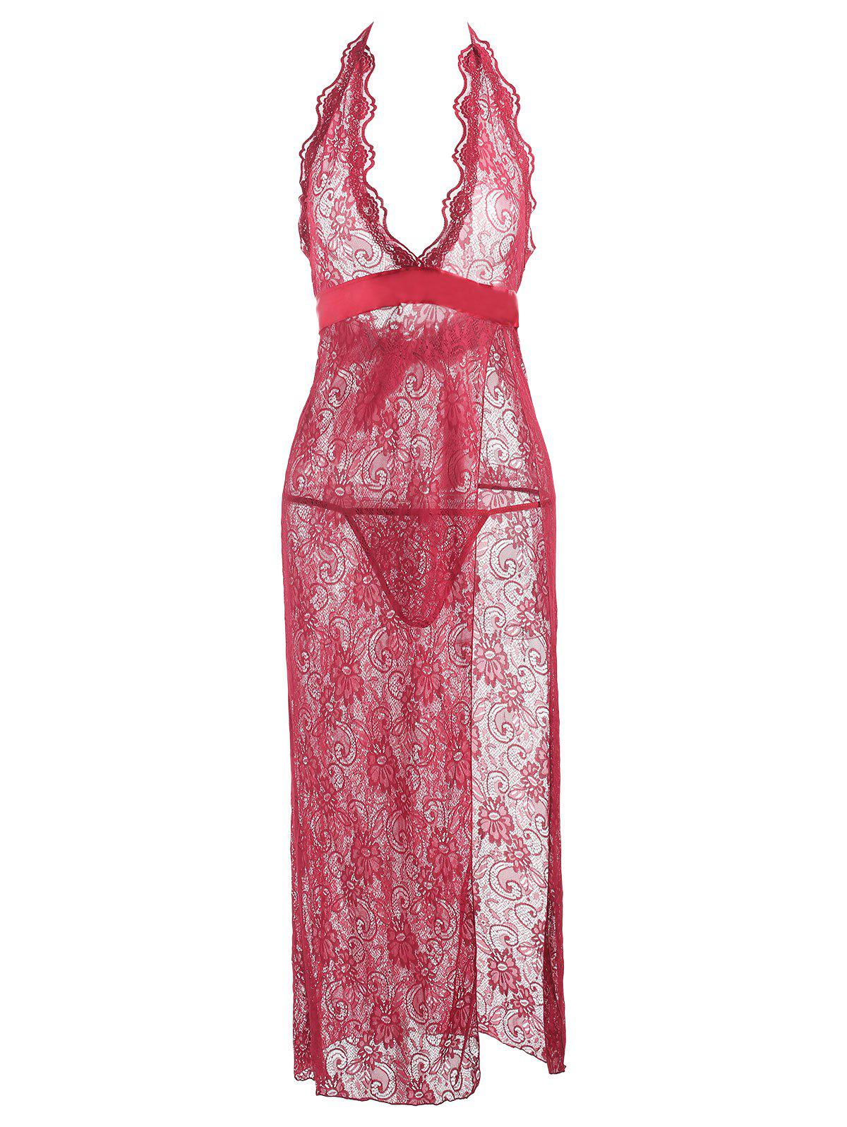 Lace Slit See Thru Long Lingerie Dress - WINE RED S