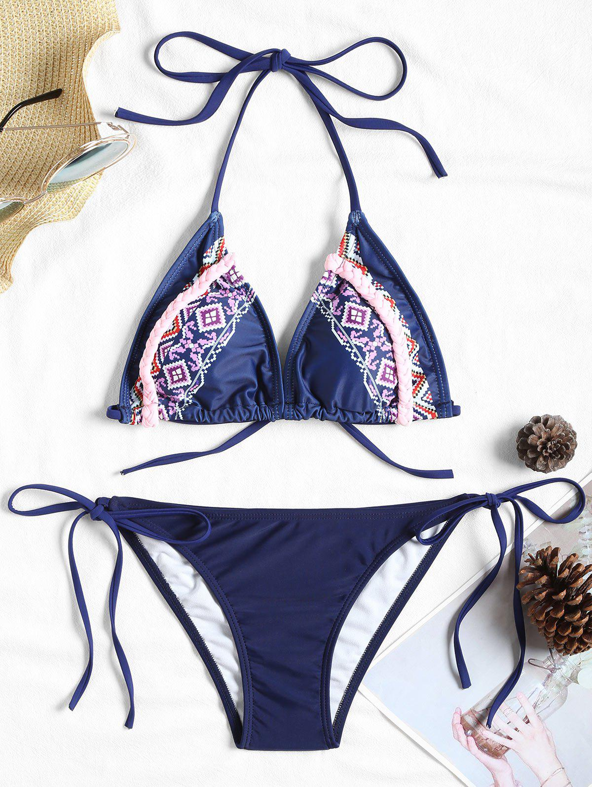 Pattern Brazilian Bikini Set - PURPLISH BLUE XL