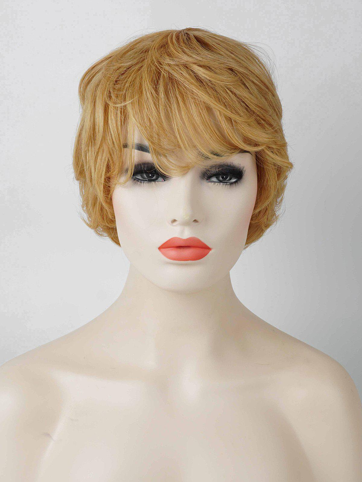Inclined Bang Layered Short Slightly Curly Human Hair Wig - LIGHT BLOND
