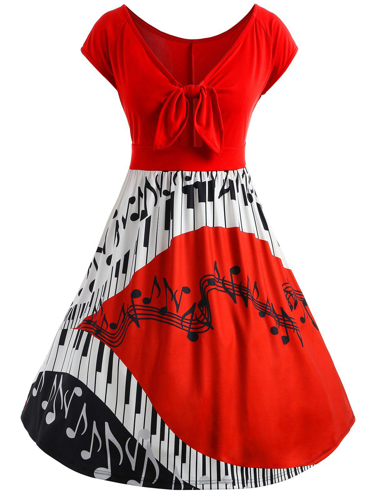 Plus Size Bow Piano Music Note Dress music note party swing dress