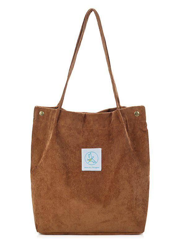 Casual Corduroy Pure Color Tote Bag - SUGAR HONEY