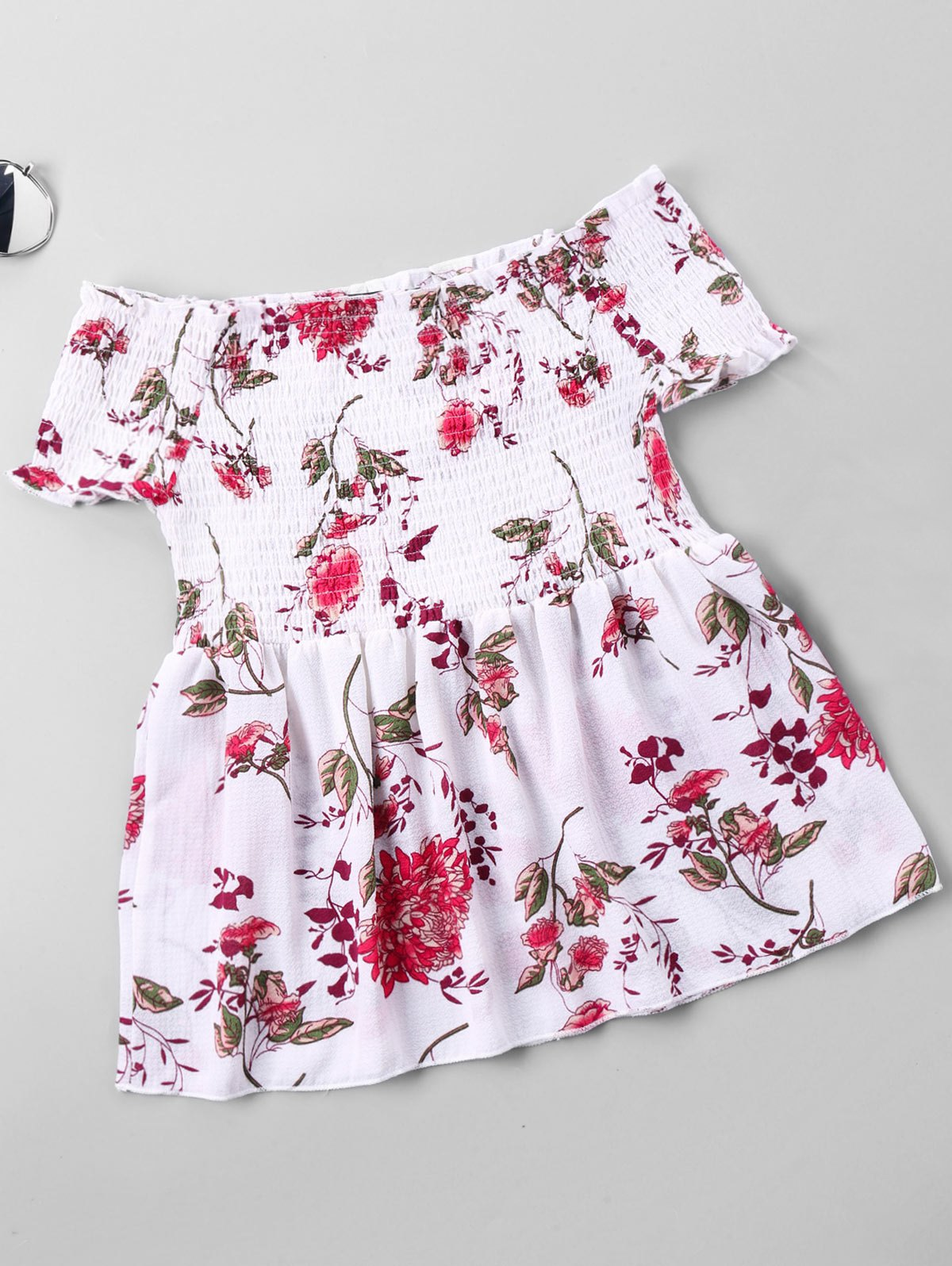 Floral Printed Off The Shoulder Blouse - WHITE S