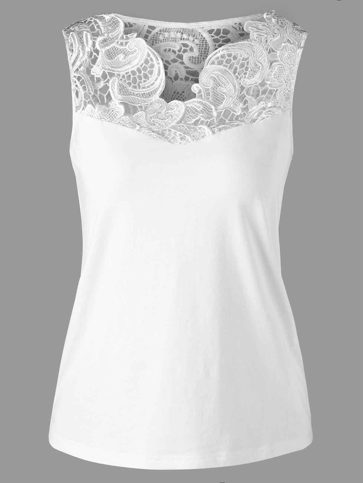 Lace Insert Tank Top - WHITE L