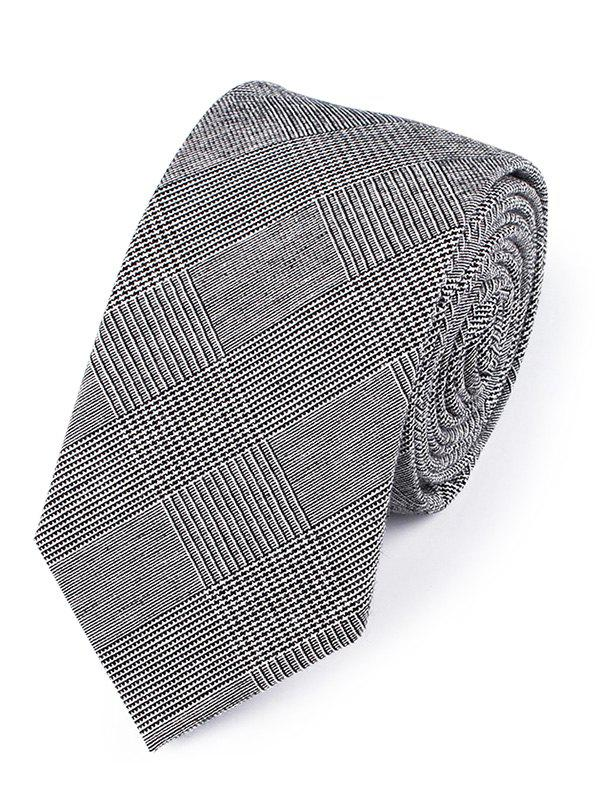 Vintage Striped Pattern Silky Neck Tie - BLACK