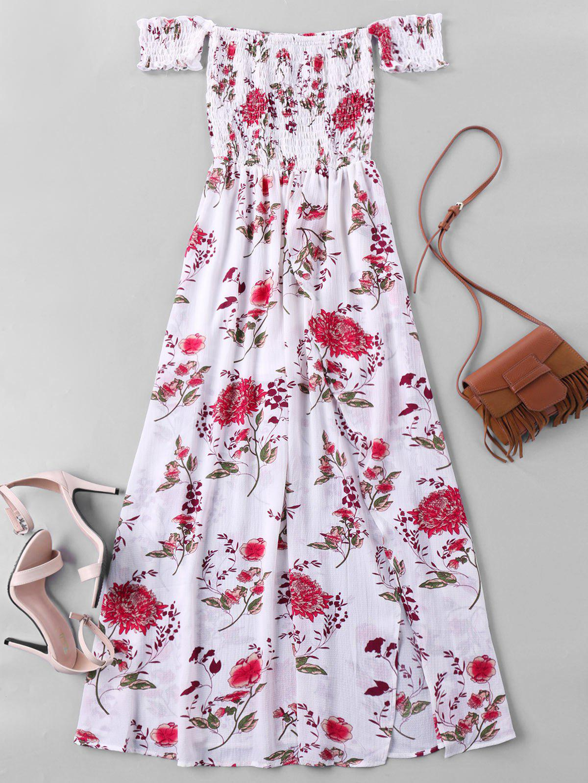 Off Shoulder High Slit Flower Maxi Dress - WHITE M