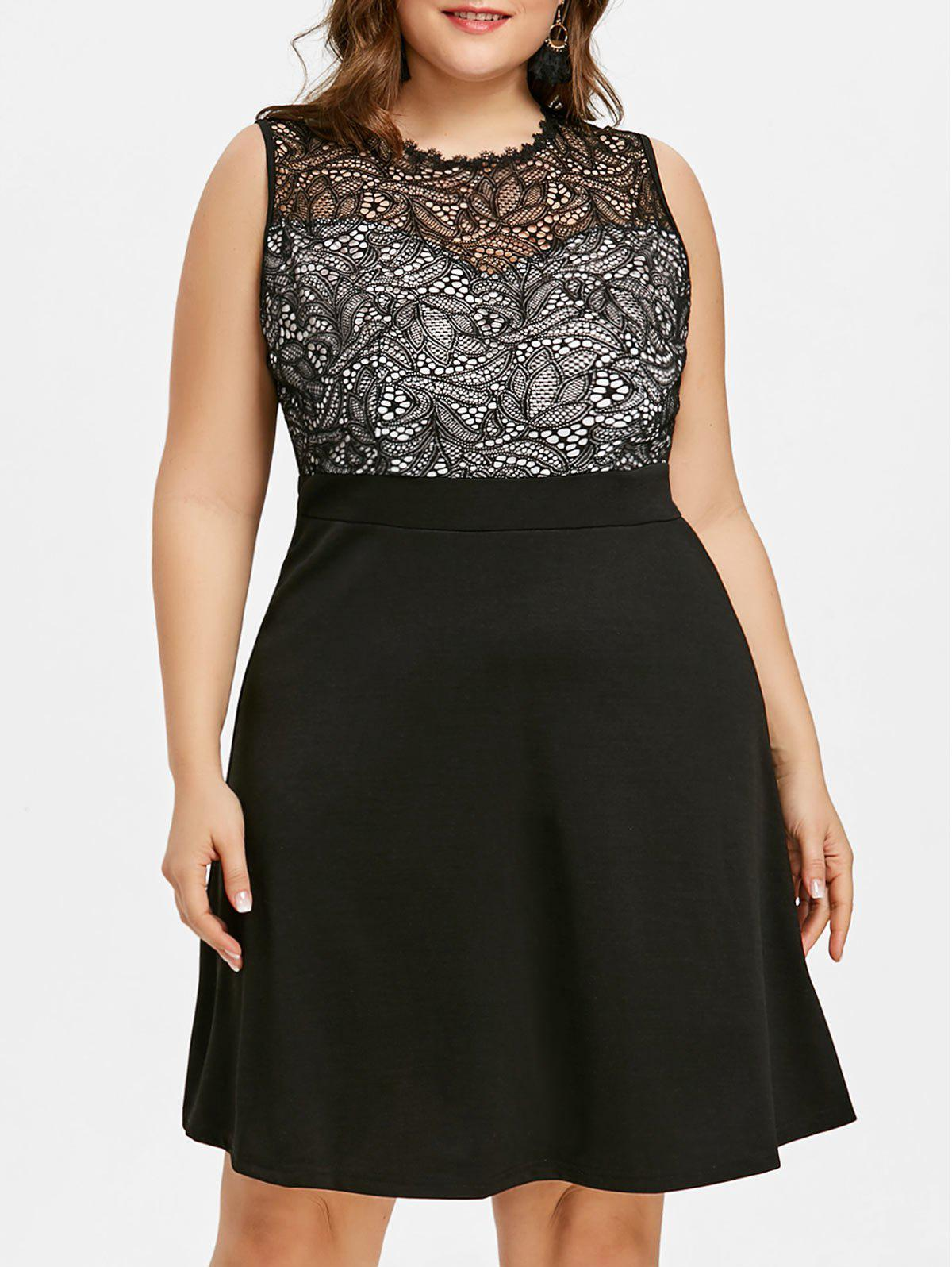 Plus Size Fit and Flare Evening Dress - BLACK XL