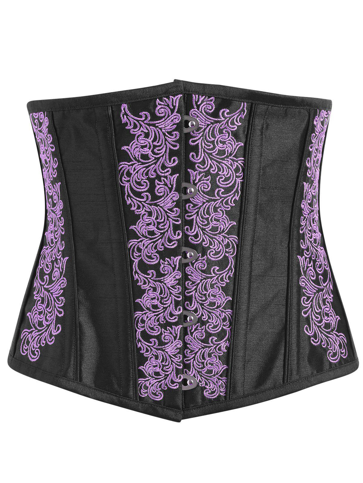 Embroidery Lace-up Steel Boned Corset - PURPLE L