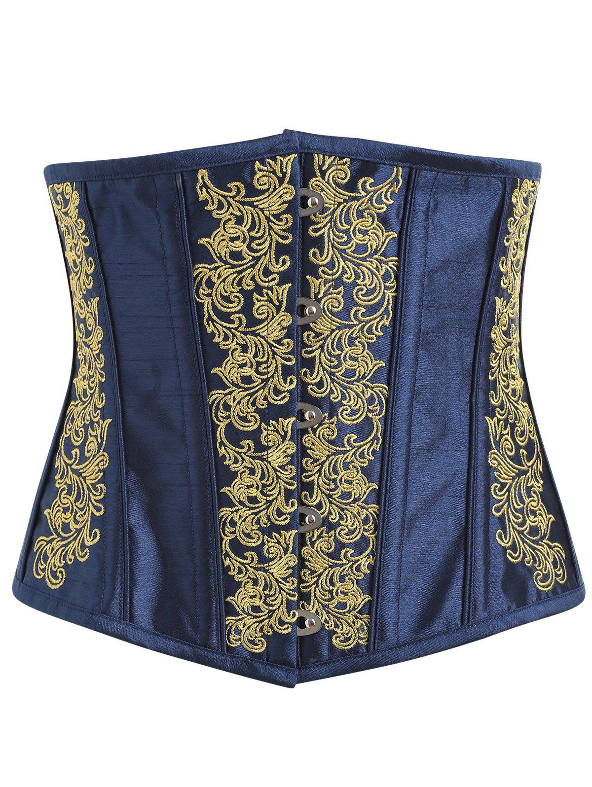 Embroidery Lace-up Steel Boned Corset - YELLOW XL