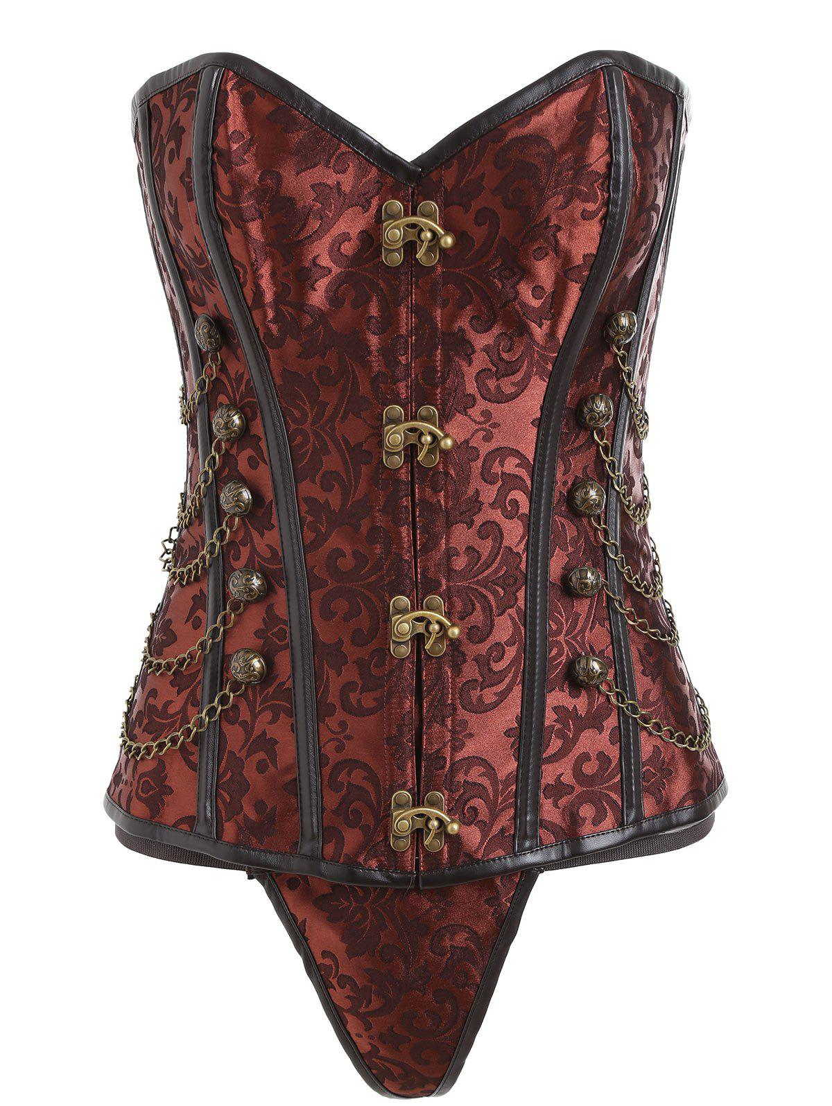 Vintage Brocade Chains Cincher Corset - BROWN L
