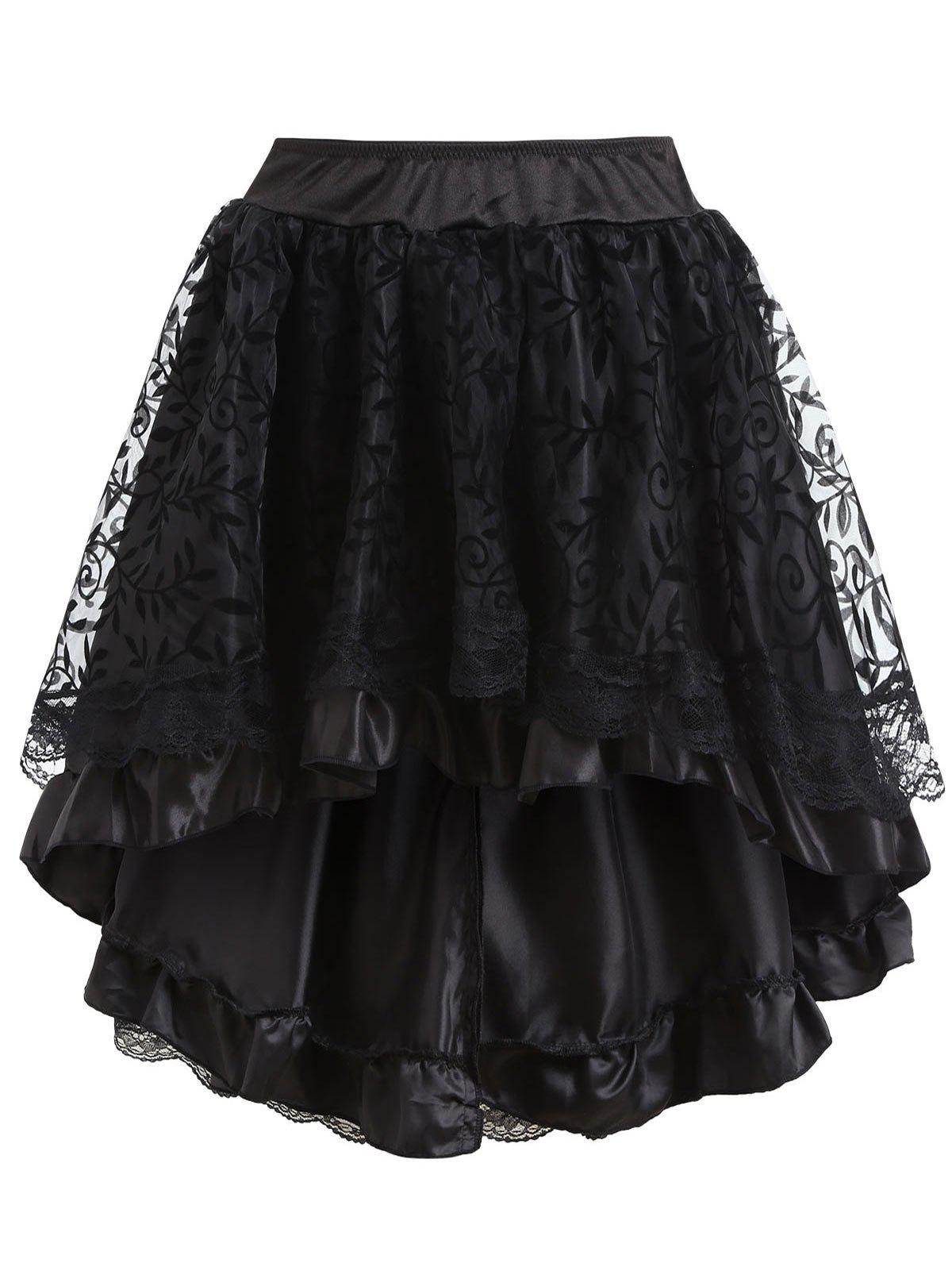Flounce High Low Lace Trim Cosplay Skirt - BLACK L