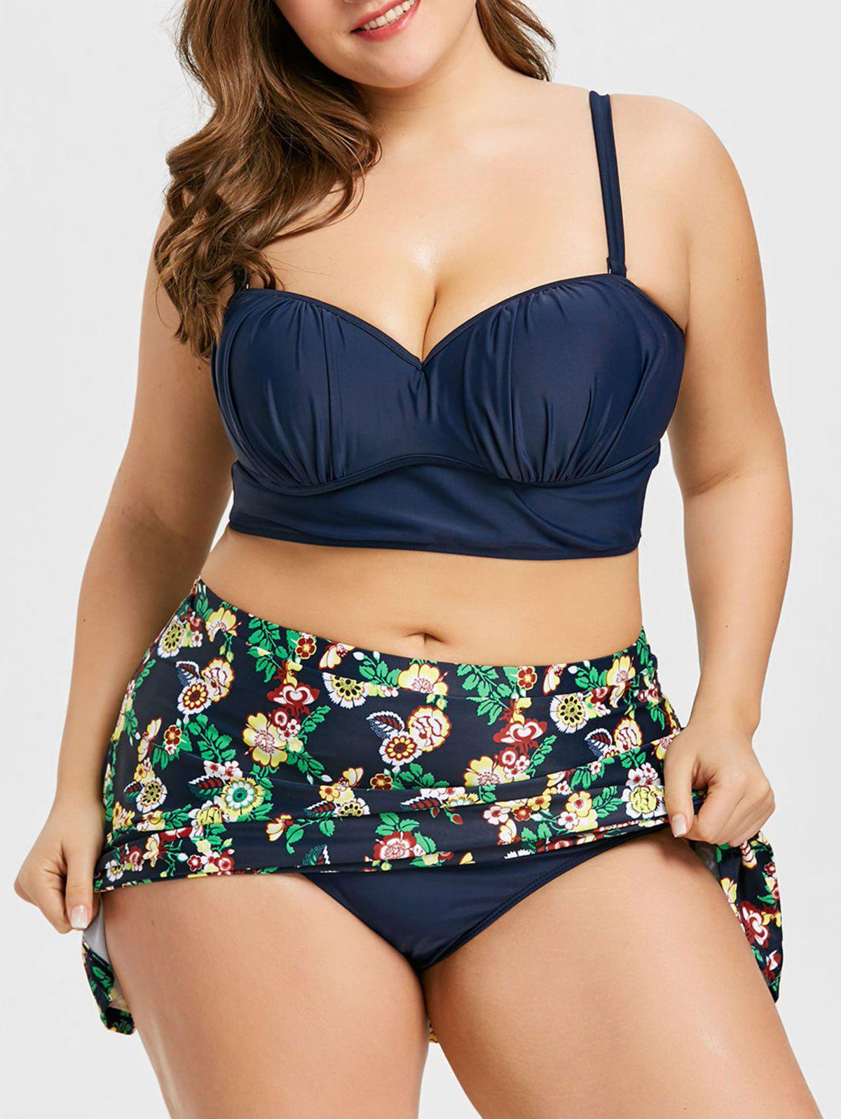 Plus Size Flower High Waist Bikini Set - PURPLISH BLUE 4XL