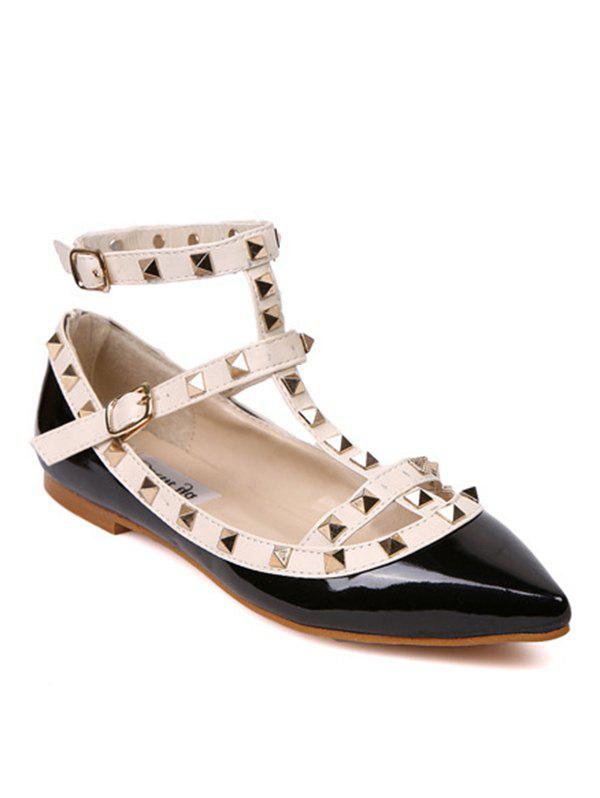 Studded Three Straps Flats - BLACK WHITE 37