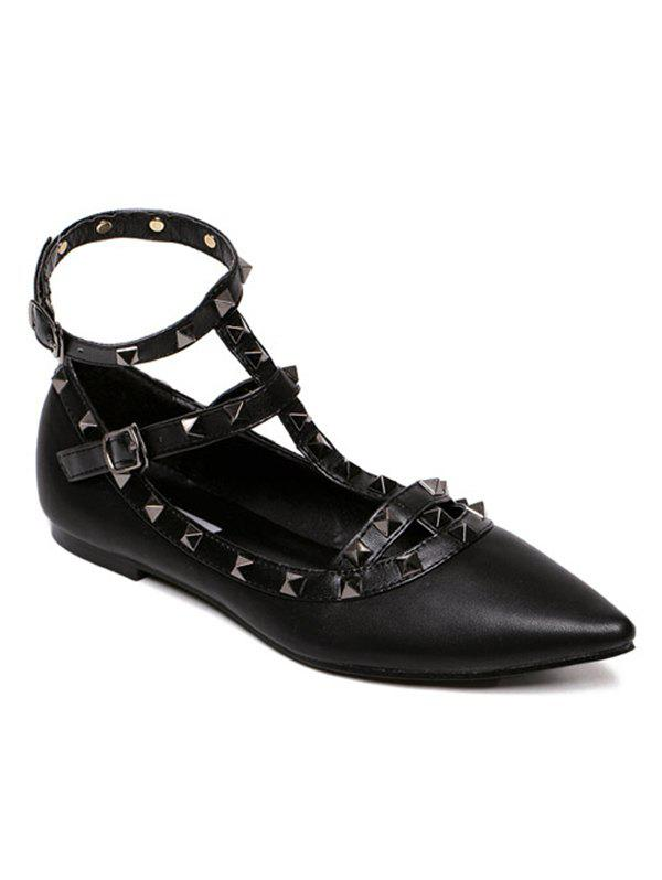 Studded Three Straps Flats - FULL BLACK 36