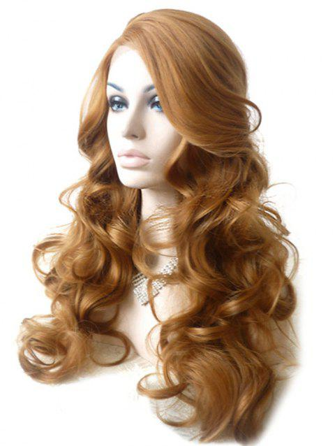 Long Inclined Bang Shaggy Loose Wave Synthetic Wig - GOLD BROWN