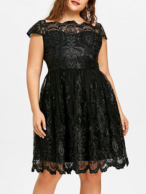 Plus Size Baroque Embroidered Tulle Dress - BLACK 2XL