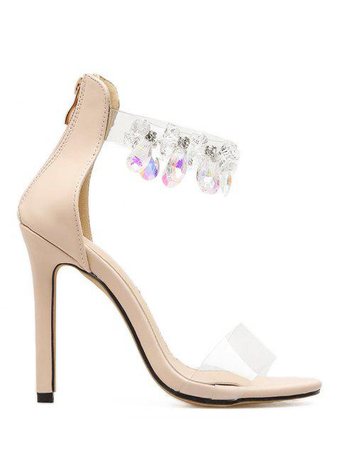 Rhinestone Embellishment Ankle Strap Sandals - APRICOT 38