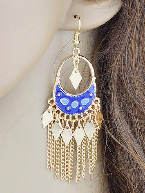 Metal Crescent Tassel Hollow Out Drop Earrings - BLUE
