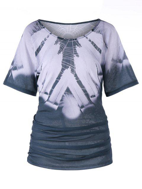 Two Tone Spider Web Ruched Tunic T-shirt - COLORMIX XL