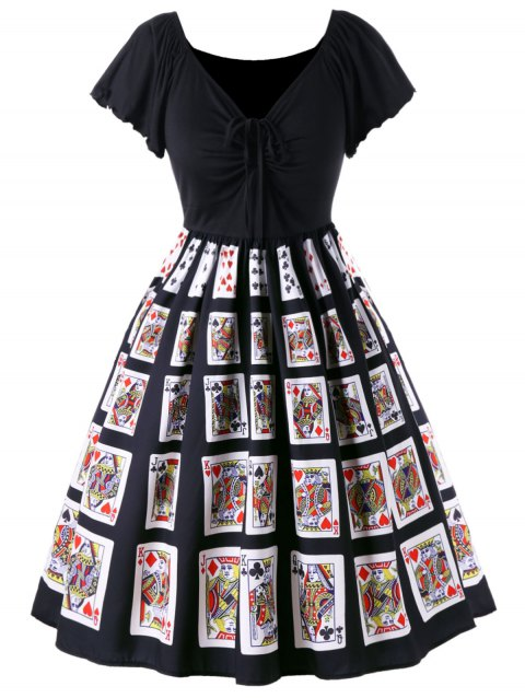 d0f0783e307 41% OFF  2019 Plus Size Vintage Playing Card Print Swing Dress In ...